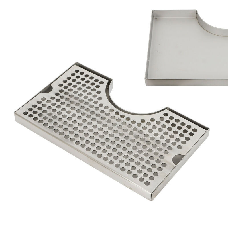 """Tower Drip Tray Stainless Steel Cutout Draft Beer No Drain Removable Grate 12x7"""""""