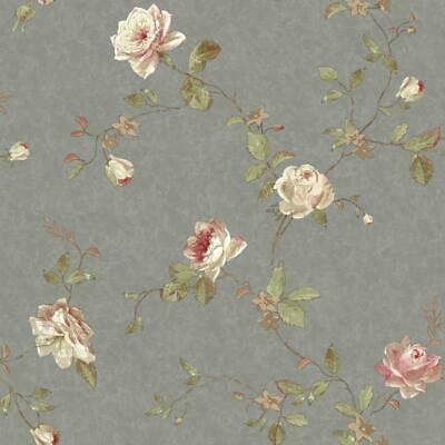 - Wallpaper Designer Vintage Luxe Floral Trail Wallpaper Pewter Pink Cream, Beige