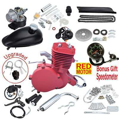 80cc 2 Stroke Bike Bicycle Motorized Cycle RED Motor Engine Kit w/ Speedometer