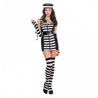 ladies Female Prisoner Fancy Dress Costume Black & White Stripes UK 10-12](Female Prisoner Costumes)