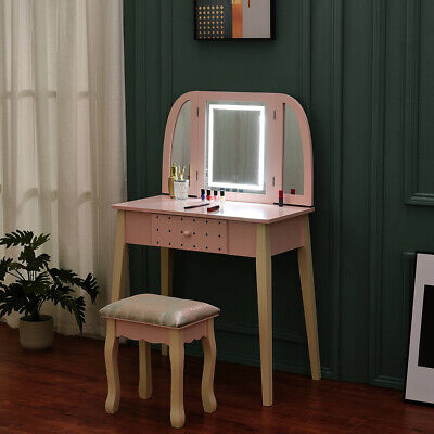 Wooden Vanity Dressing Table Sets with LED Light Mirror and Stool Make Up Desk