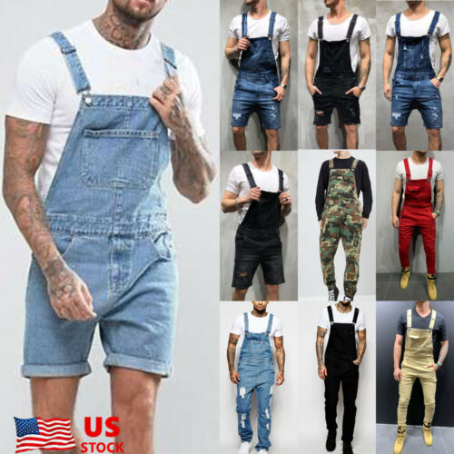 Men Shorts Denim Overalls Suspender Trousers Bib Pants Skinn