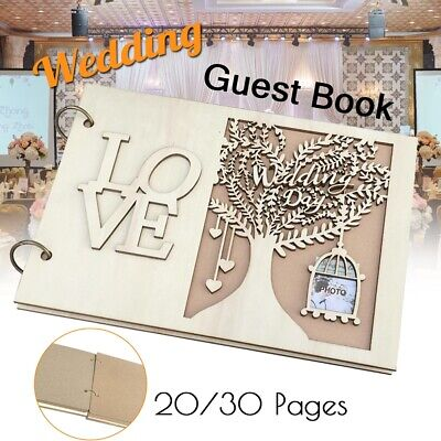 Wedding Guest Book Wooden Tree Personalised Signing Book 20/30 Pages Party Decro](Wedding Guest Tree)