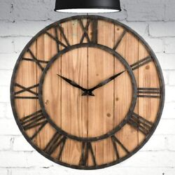 Wood Wall Clock Non Ticking 16 Roman Numeral Metal & Wood Clock Home Decoration