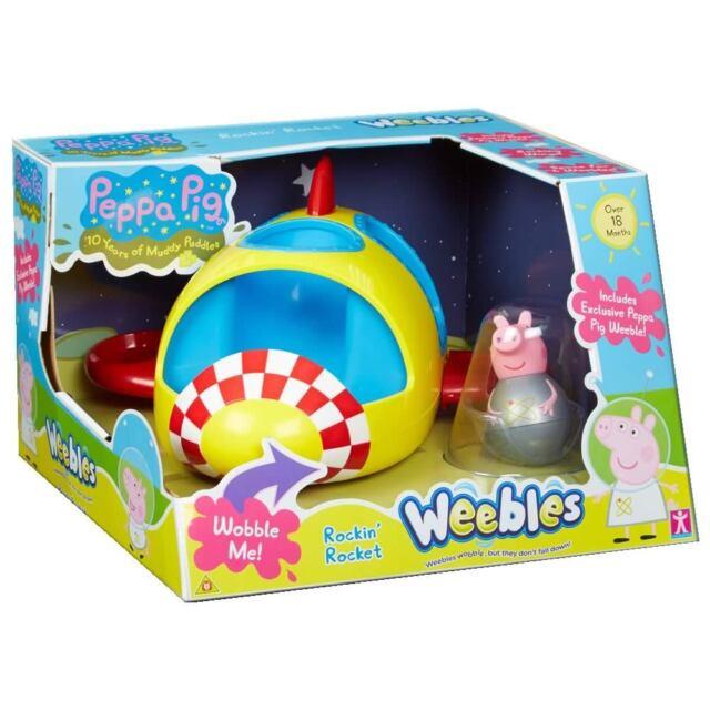 Peppa Pig Weebles Rockin Rocket Toy Inc 1 x Peppa Space Figure Push Along NEW