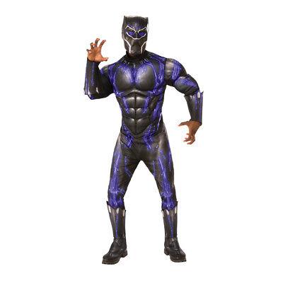 Mens Muscle Suit (Mens Deluxe Muscle Chest Black Panther Battle Suit)