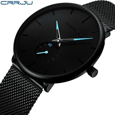 Luxury Simple Mens Watch Original New Fashion Mesh Band Waterproof 2 Dials CRRJU