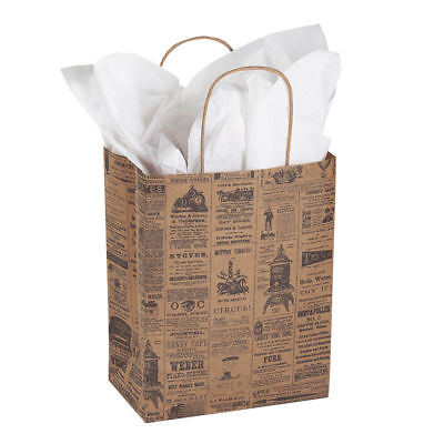 Paper Bags 25 Newsprint News Print Retail Merchandise Shopping 8 X 4 X 10