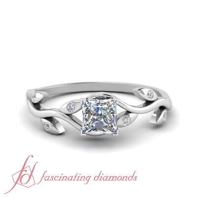 Half Carat Princess Cut FLAWLESS Diamond Leaf Inspired Engagement Ring For Women