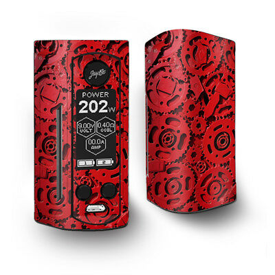 Skin Decal for Wismec Reuleaux RX Gen3 Dual Vape / Red Gears Cog Cogs Steam punk