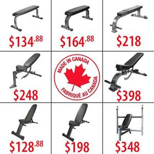 MADE IN CANADA  Flat Incline Decline Adjustable Commercial Folding Weight Bench