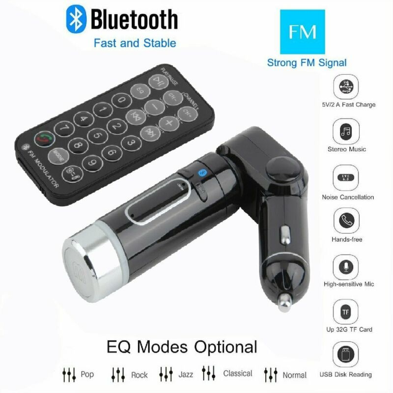 Car Kit FM Transmitter Handsfree MP3 Player Charger Black for Smart Phone WF