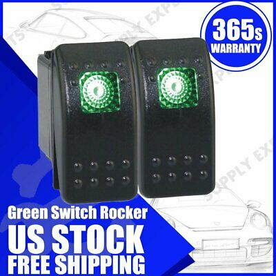 2x Waterproof 12v 20a Onoff Boat Marine Spst 3p Rocker Switch W Green Light