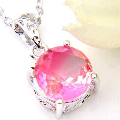 Anniversary Gift Romantic Sweet Pink Topaz Gemstone Silver Necklace Pendants New