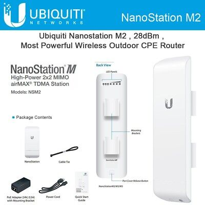 Ubiquiti NSM2 airMAX 2.4GHz 2x2 MIMO Indoor/Outdoor Nanostation M2  for sale  Shipping to Canada