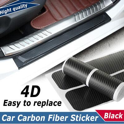 4X Car Accessories Kit 4D Carbon Fiber Door Sill Scuff Protector Stickers & Tool