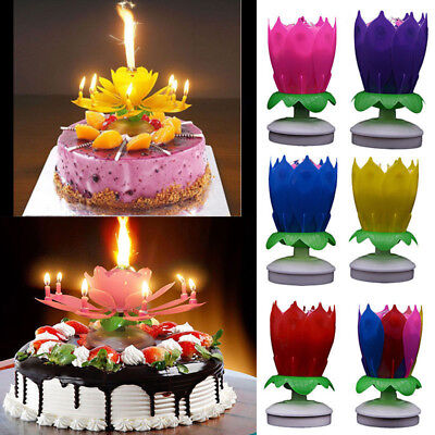 Cake Topper Blossom Musical Party Magic Birthday Candle Double-deck Lotus Flower