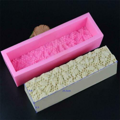 Silica gel Silicone Loaf Soap Mold with Mat Rectangle Bee Honeycomb Rendering