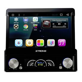 "7"" Single Din Flip Out HD Android 6.0 GPS Bluetooth Car Stereo With Radio DVD USB SD Aux"