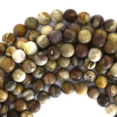 Matte Petrified Wood Agate Round Beads Gemstone 15
