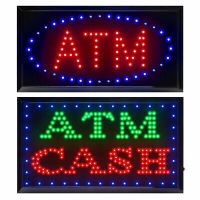 Bright Led Neon Light Atm Atm Cash Open Busines Sign W Onoff Animated Switch