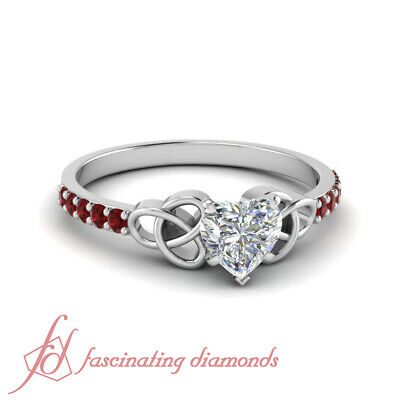 1 Carat Platinum Diamond Engagement Ring For Women With Heart Shape And Ruby GIA
