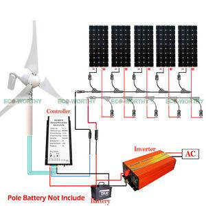 900W Wind Turbine Generator Kit & 5*100W Solar Panel for Home Power Charging US