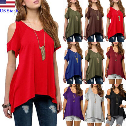 US Womens Summer Cold Shoulder Loose Top Short Sleeve Blouse Casual Tops T-Shirt
