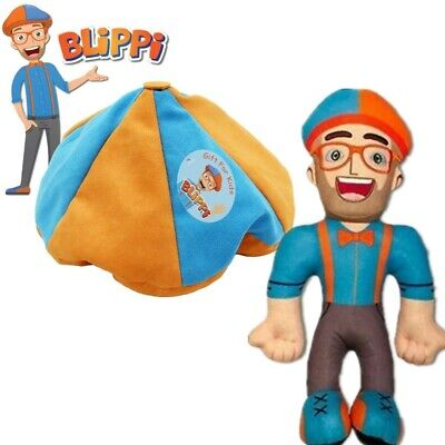 13 inch Blippi Plush Figure Toy Soft Stuffed Doll Kids Hat For Christmas Gift ()