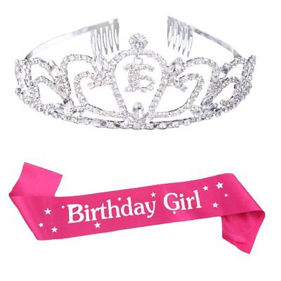 Maticr Sweet Sixteen 16 Crystal Tiara Crown and Sash 16th Birthday Girl Party - Sweet Sixteen Sash And Tiara