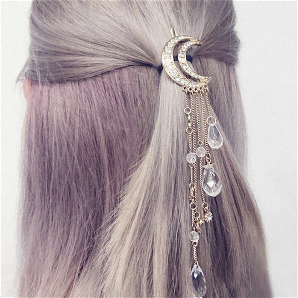 Moon Crystal Rhinestone Beads Dangle Hairpin Hair Clip Women Bridal Jewelry