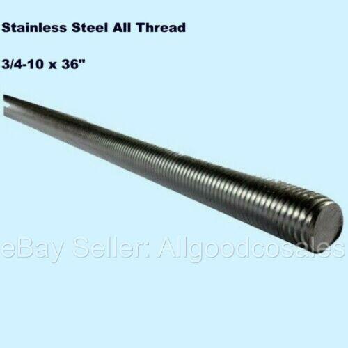 "Stainless Steel All Thread 3/4-10 x 36"" Threaded Rod Grade 304 3 Ft. Length"