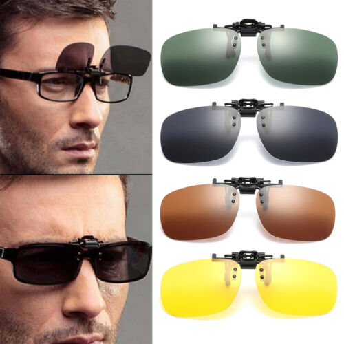 Polarized Flip-up Clip-on Lenses Black Sunglasses UV400 Fishing Driving Glasses Clothing, Shoes & Accessories