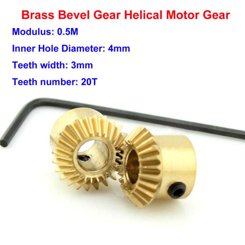 2Pcs 0.5M-20T Metal Umbrella Tooth Bevel Gear Helical Motor Gear 20T Bore:4mm