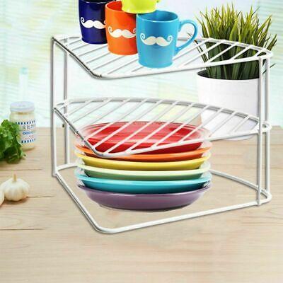 2 Tier White Corner Shelf Basket Cupboard Kitchen Bathroom Storage Organizer ES