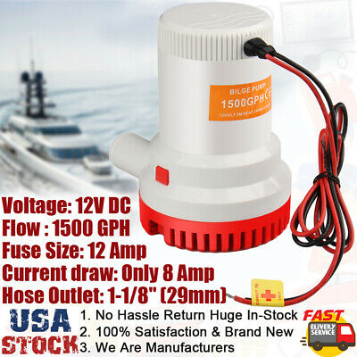1500 Gph Boat Bilge Marine Electric Water Pump Sump 12v 29mm Id Hose Heavy Duty