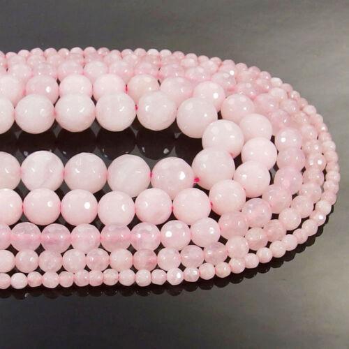 Natural Rose Quartz Gemstone Faceted Round Beads 15.5