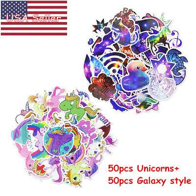 100pcs/lot, 50 Unicorns+50 Galaxy Skateboard  Vinyl Graffiti Stickers