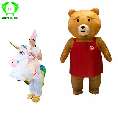 Teddy Bear Adult Cosplay Inflatable Costume Suit Blow Up Halloween Outfit Men ()