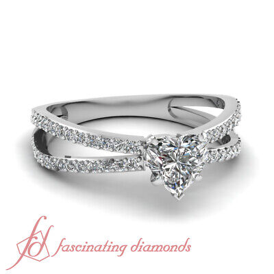 Split Band Engagement Ring Pave Set 3/4 Carat Heart Shape And Round Diamond GIA