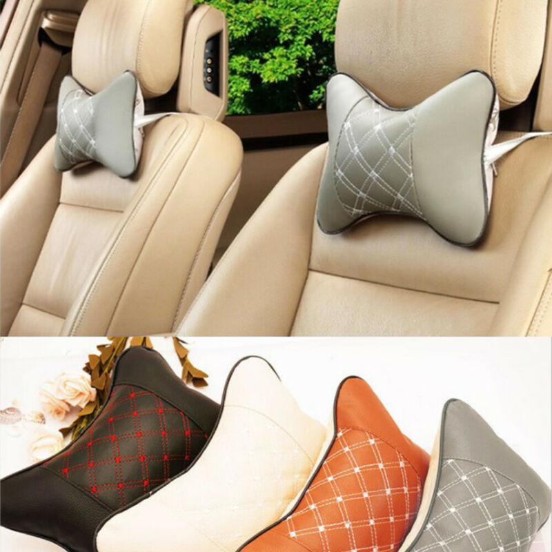 Car Seat Headrest Pillow Leather Neck Rest Cushion for Mercedes-Benz Brown Logo