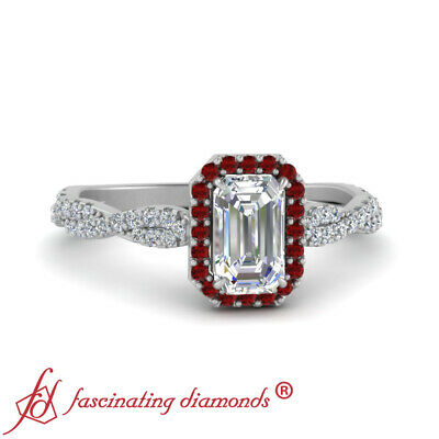 Infinity Twist Halo Engagement Ring With 3/4 Carat Emerald Cut Diamond And Ruby 1