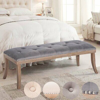Modern Velvet Bench Button Tufted Seat Solid Wood Leg Entryway Bedroom Furniture Button Tufted Seat