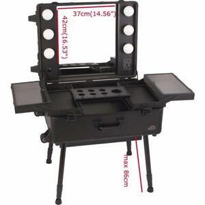 Professional Makeup Station Artist Rolling Case LED Lighted Mirror Organizer(300038)