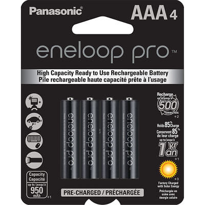 Panasonic Eneloop Pro AAA Rechargeable Ni-MH Batteries (950mAh, 4-Pack) for sale  Shipping to India