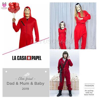 Haus des Geldes Unisex Bankräuber Kostüm Overall und Dali Maske La Casa De (Maske Und Kostüm)