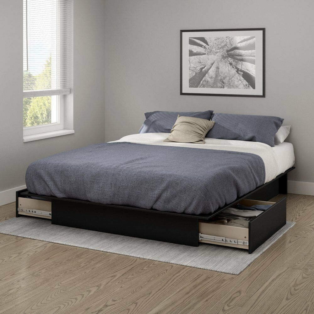 Black Queen or Full Size Platform Bed Frame with Storage Dra