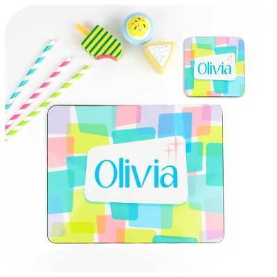 Kids Personalised Placemat & Coaster, Girls Christmas Gift, Unicorn Colours