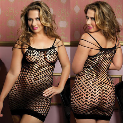 Women Sexy Dress Fishnet Bodycon Mesh Nightwear See Through Babydoll Sleepwear