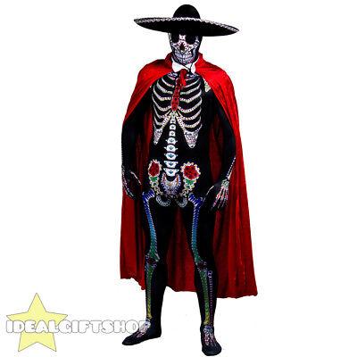 MENS DAY OF THE DEAD SUGAR SKELETON SKULL FANCY DRESS COSTUME MEXCIAN SENOR